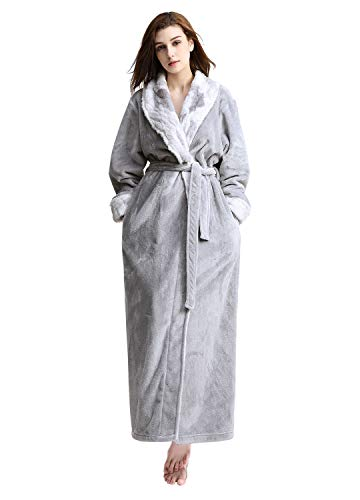 Womens Warm Flannel Bathrobe Ultra Soft Plush Microfiber Spa Robes Light Gray ()