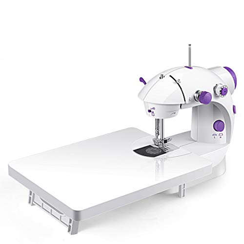 Sewing Machine, Mini Portable Double Speed Kid's Sewing Machine for Beginners with Light Extension Table Foot Pedal 4 Coils