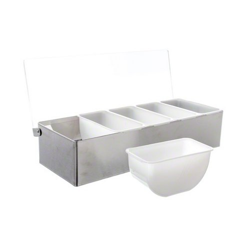 Tablecraft Condiment Dispenser, Stainless Steel with  5 Compartments | Condiment Server Organizer | Commerical Quality for Bar & Restaurant Use ()