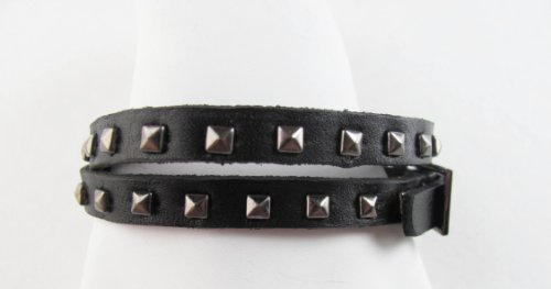 Gifts by Lulee, LLC Double Wrap Black Leather Bracelet with Metal Studs and Belt Buckle Closure