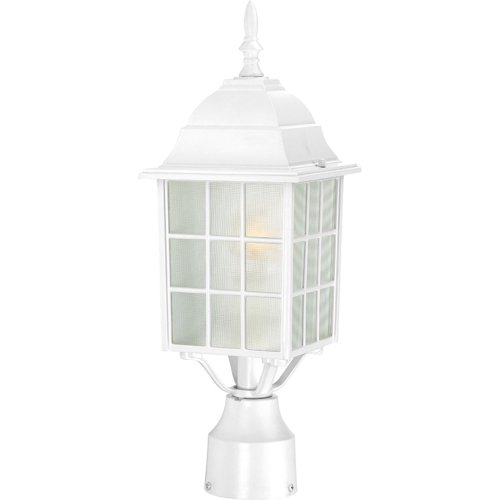 (Nuvo Lighting 60/4907 Adams One Light Post Lantern 100 Watt A19 Max. Frosted Glass White Outdoor Fixture)