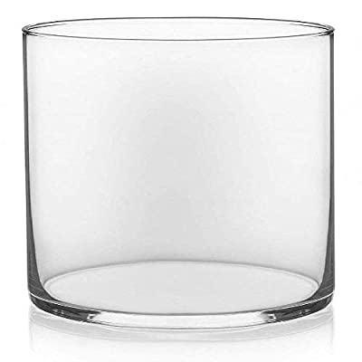"Floral Supply Online 4"" Tall x 4"" Wide Cylinder Glass Vase for Weddings, Events, Decorating, Arrangements, Flowers, Office, or Home Decor."