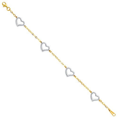 Wellingsale 14k Two 2 Tone White and Yellow Gold Polished Heart Link Bracelet with Lobster Claw Clasp - 7.5