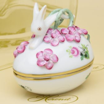 ヘレンド(Herend) 卵形ボンボン入れ(06054)兎と花の飾り ヘレンドのウィーンのバラシンプル(VRHS) [並行輸入品] B018HRZSSQ