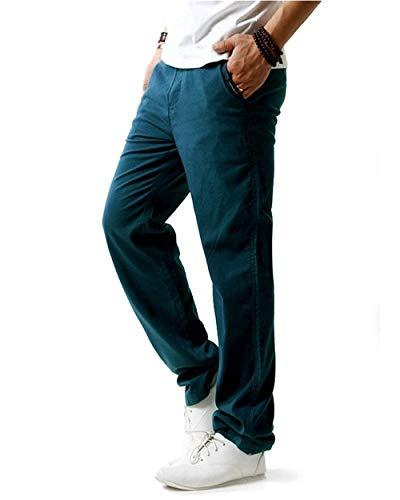 Casuales Larga Lino Cómoda Beige Algodón Laterales Verano Los Bolsillos Primavera De Cómodo Pantalones La Battercake Del Luz Suelta Sólido Hombres Ew01H
