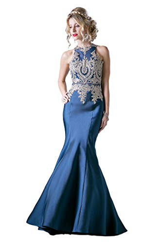 Meier Women's Embroidery Halter Stretchy Taffeta Mermaid Prom Dress Navy Size 12