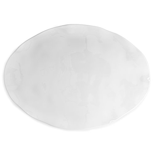 Q Squared Ruffle in Round BPA-Free Melamine Large Oval Platter, 18-Inches by 13-Inches, (White Large Platter)
