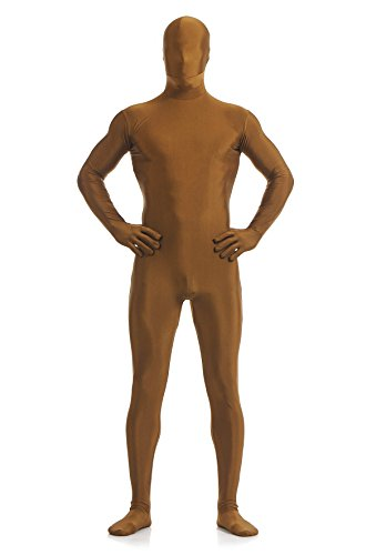 Ensnovo Mens Full Body Tights Suit Costumes Lycra Spandex Zentai Bodysuit Brown, M -