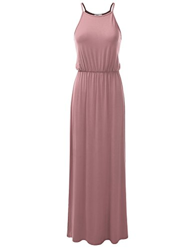 Doublju Stretchy Side Slit Halter Neck Maxi Dress For Women With Plus Size (Made In USA) Mauve - Be Usa Active