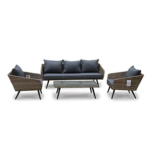 Courtyard Casual 5092 Encino Collection 4pc. Outdoor Sofa Set with Cushions, Natural