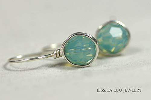 Blue Green Earrings Pacific Opal Swarovski Crystal Earrings Wire Wrapped Earrings Choice of Sterling Silver or Gold -