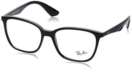 Ray-Ban RX7066 Square Eyeglass Frames, Shiny Black/Demo Lens, 54 mm (Ray Ban Eyewear)