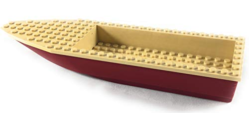 LEGO Parts: City Harbor - Fishing Boat Hull Unitary 28 x 8 - Dark Red with Tan Top (92710c04) -