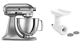 KitchenAid KSM150GBQCU Artisan Tilt-Head Stand Mixer with Food Grinder Attachment, Contour Silver (B07WX5H94D) | Amazon price tracker / tracking, Amazon price history charts, Amazon price watches, Amazon price drop alerts