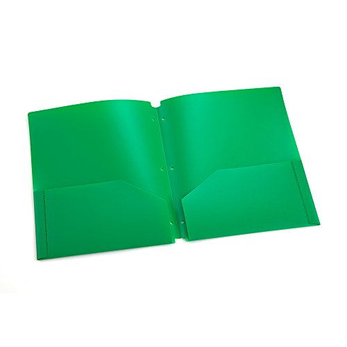 COMIX 2 Pocket Letter Size Poly File Portfolio Folder with 3-Hole Punch - 12 Pack (Green) Photo #3