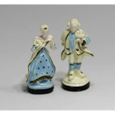 Dollhouse Miniature Statue Set of a Colonial Couple: Toys & Games