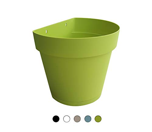 TABOR TOOLS Plastic 8.5 Inch Wall Planter Pot for Vertical Flower Garden, Living Wall or Kitchen Herbs, with Attached Saucer. VEM602A. (Lime Green)