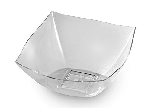 Zappy 8 Square Clear Plastic Serving Bowls 8 oz Heavyweight Disposable Condiment Bowl, Candy Bowl, Dessert Bowls Clear Bowls | Perfec Salad Bowl, Rice Bowl, Sugar Bowl, or Fruit Bowl - Small Square Fruit Bowl