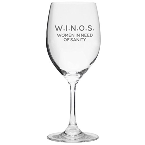 W.I.N.O.S. Women In Need Of Sanity – Cute Funny Wine Glass, Large 16 Ounce Size, Etched Sayings, Gift Box