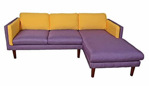 Beverly Furniture Amber Right Chaise L Shape Sofa, Yellow and Blue