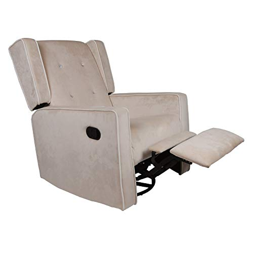 Polar Aurora Swivel Gliding Rocker Recliner Suede Tufted Upholstered Glider for Nursery, Study and Living Room/Microfiber 6 Color (Off-White)
