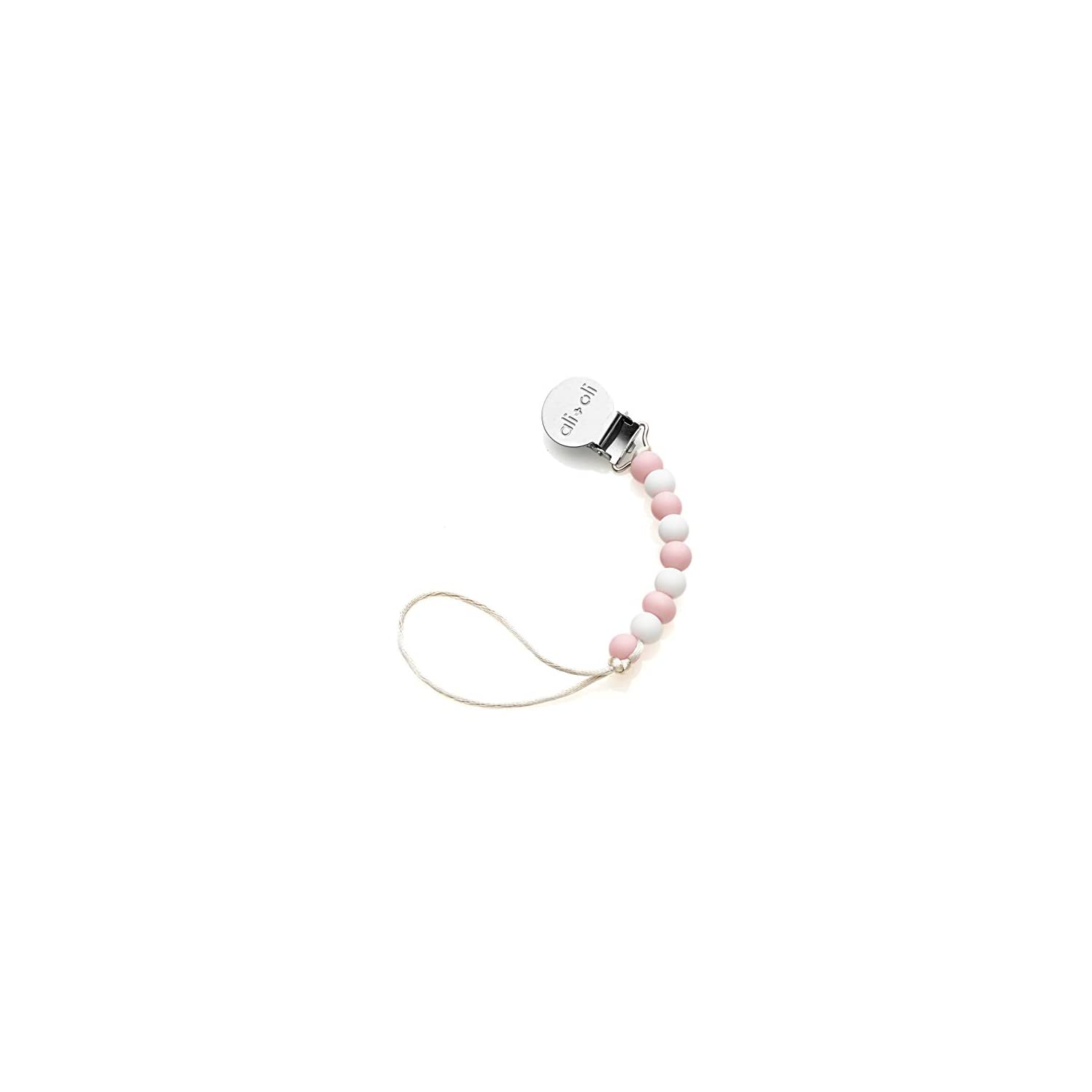 Modern Pacifier Clip for Baby – 100% BPA Free Silicone Beads (Slim Pink) Binky Holder for Newborn – Infant Baby Shower Gift – Universal fit MAM – Philips Avent