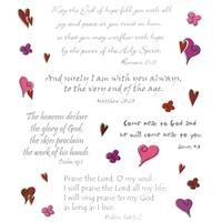 Bible Verse Stickers (Scripture and Hearts) 1 Pack with 44 -