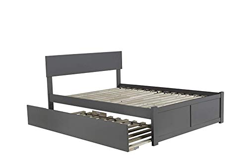 Atlantic Furniture Flat Panel Foot Board Orlando Platform Bed with Twin Size Urban Trundle, Full, Grey