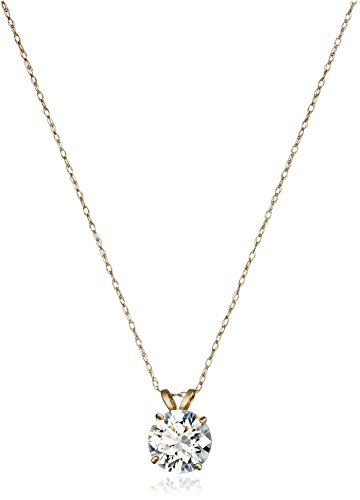 Gold Solitaire Swarovski Zirconia Pendant Necklace