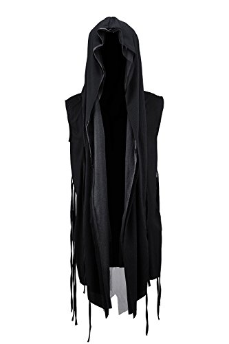 ByTheR Men's Mesh Layerd String Detail Dark Gothic Sleeveless Hooded Cardigan Black -