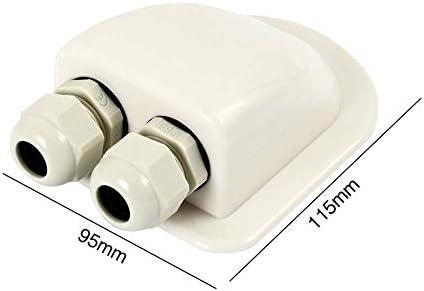 HilMe Wohnwagen-Dachverschraubung, Dachkanal, Dual-Kabeleinführung für Wohnmobile, Wohnmobile, Wohnwagen, Boote, Solarpanel, CCTV-Boot-Zubehör, nicht null, weiß, Free Size