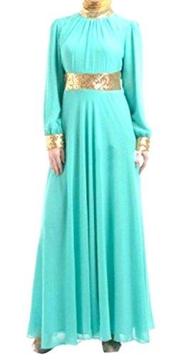 Coolred-femmes Moyen-orient Arabia Manches Longues Bleu Peplum Robe Volantée