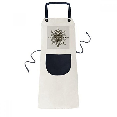 Religion Christianity Church Black Flower Cooking Kitchen Beige Adjustable Bib Apron Pocket Women Men Chef Gift by DIYthinker