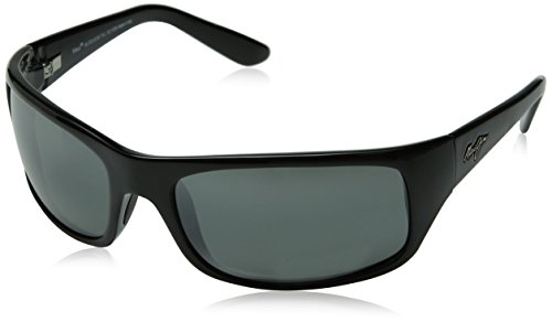 Maui Jim Peahi Polarized Sunglasses,Gloss Black Frame/Neutral Grey Lens,one - Polarized Logo