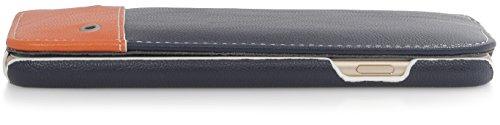 """StilGut Slim Case, housse iPhone 6s Plus (5,5 pouces) en semilicuir. Etui de protection iPhone 6 Plus (5.5"""") à ouverture verticale et fermeture clipsée, bleu/orange"""