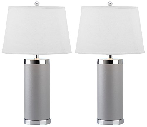 Safavieh Lighting Collection Leather Column Grey 26-inch Table Lamp (Set of 2) (Table Lamp Leather Rectangular)