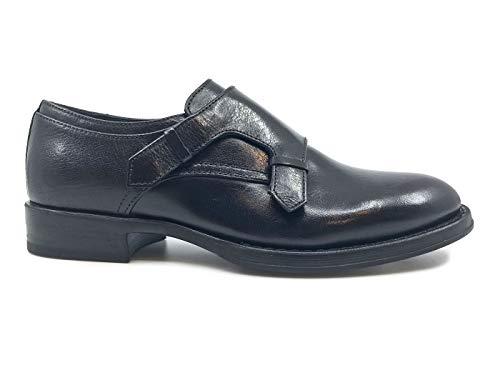 Para De Corvari Cuero Cordones Negro Mujer Zapatos qZcvwI