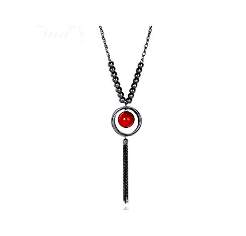 Nataliya Pendant Statement Necklace (Red Ball Circle Black Chain Tassel) ()