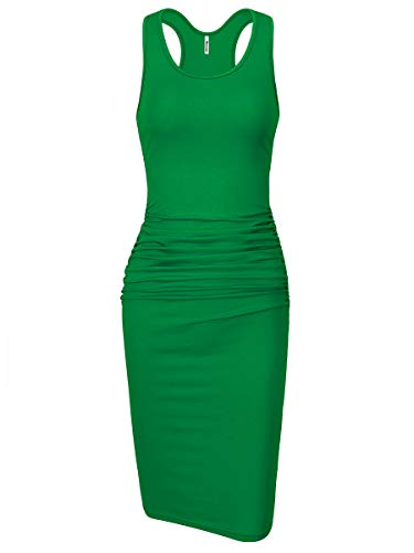 Missufe Women's Sleeveless Racerback Tank Ruched Bodycon Sundress Midi Fitted Casual Dress (Green, Small)