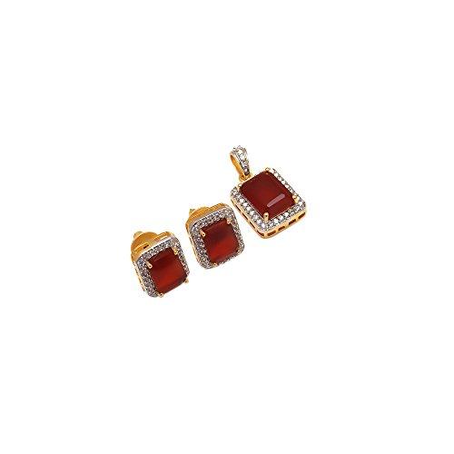Pendant Fine Silver Gold Finish Ad Cz Jade Original Red Gemstone Jewelry 6914