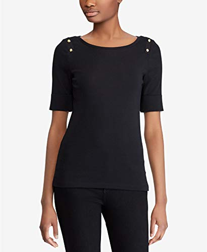 LAUREN RALPH LAUREN Womens Button-Shoulder Top Color Black Size X-Large