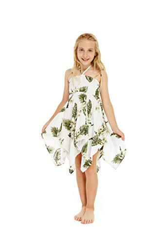 Girl Gypsy Uneven Bottom Hawaiian Luau Dress in White Green Palms Size 8]()