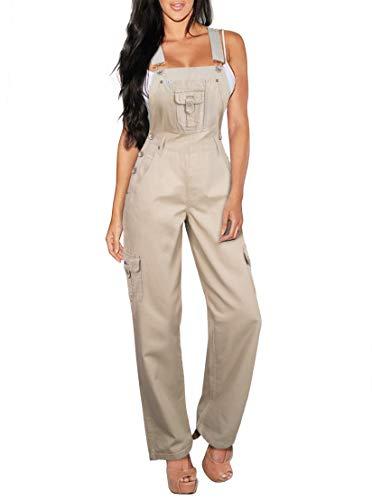 HyBrid & Company Womens Stretch Denim Overalls PVJ156170 Beige/Khak -
