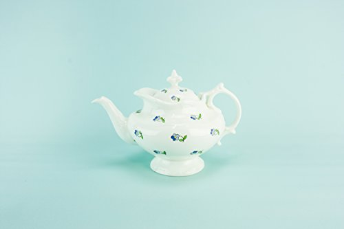 Spectacular Victorian Floral Small Coalport Gift TEAPOT Porcelain Antique Blue And White Globular English Circa 1900 LS (Bee Golden Menu)