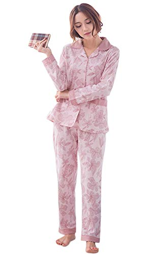 Solo Delanteros Solapa Elastische Ropa Moda Bolsillos De B Pedazos Otoño Pecho 2 Mujer Taille Larga Dormir Un Pantalones Pijama Manga wvq4vX7