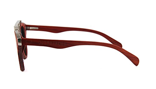 sol Gafas marrón 400 y Skateboard hombre rojo madera UV polarizadas de mujer unisex NATURJUWEL pEgwHzdqp