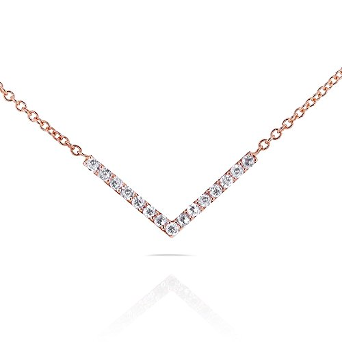 Round Diamond Chevron V Necklace in 14k Rose Gold (16