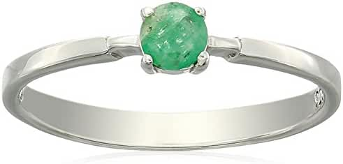 Sterling Silver Genuine Emerald Solitaire Ring