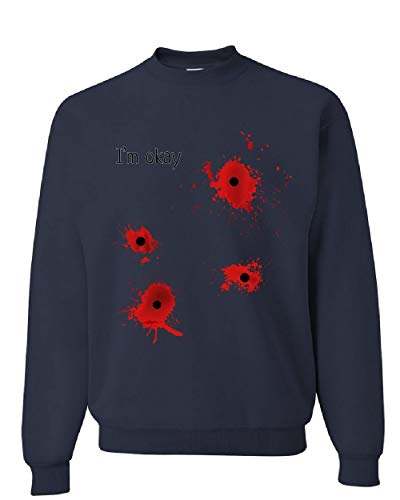 Tee Hunt I'm Okay Halloween Sweatshirt Funny Bullet Hole Blood Stained Sweater Navy Blue 5XL -