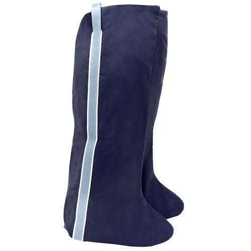 Dover Saddlery Fleece-Lined English Double Boot Bag - Navy/White/Light Blue (Bag Boot Double)